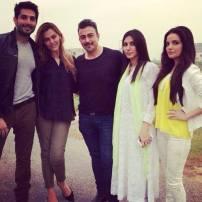 Yalgaar BTS (left to right - Bilal Ashraf, Sana Bucha, Shaan Shahid, Uzma Khan and Armeena Khan)